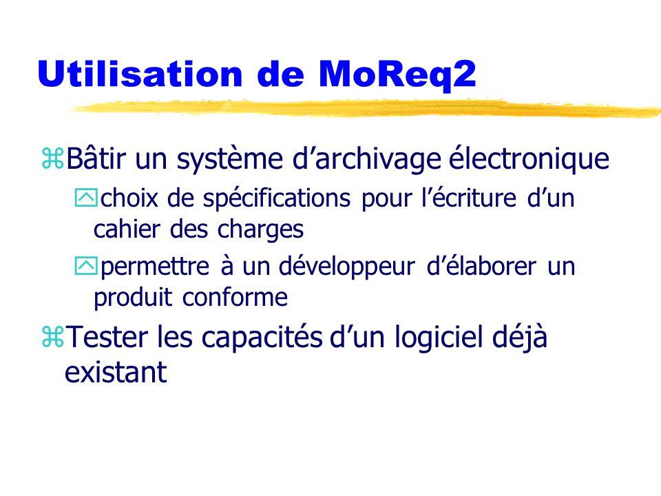 Utilisation de MoReq2 zBâtir un système d'archivage électronique ychoix de spécifications pour l'écriture d'un cahier des charges ypermettre à un développeur d'élaborer un produit conforme zTester les capacités d'un logiciel déjà existant