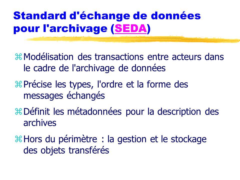 Standard d échange de données pour l archivage (SEDA)SEDA zModélisation des transactions entre acteurs dans le cadre de l archivage de données zPrécise les types, l ordre et la forme des messages échangés zDéfinit les métadonnées pour la description des archives zHors du périmètre : la gestion et le stockage des objets transférés