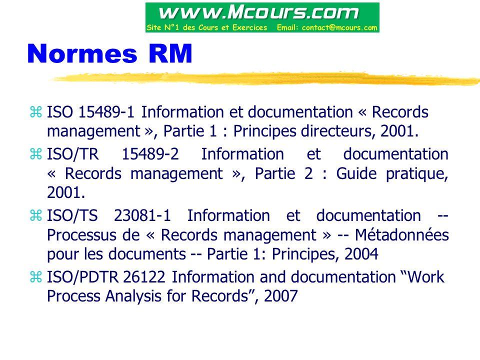 Normes RM zISO 15489-1 Information et documentation « Records management », Partie 1 : Principes directeurs, 2001.