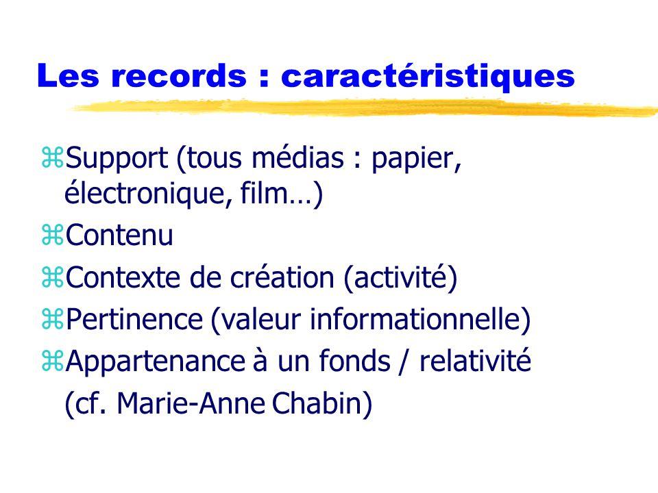 Les records : caractéristiques zSupport (tous médias : papier, électronique, film…) zContenu zContexte de création (activité) zPertinence (valeur informationnelle) zAppartenance à un fonds / relativité (cf.