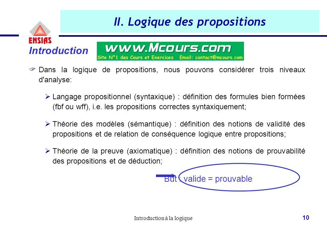Introduction à la logique 10 II. Logique des propositions Introduction  Dans la logique de propositions, nous pouvons considérer trois niveaux d'anal
