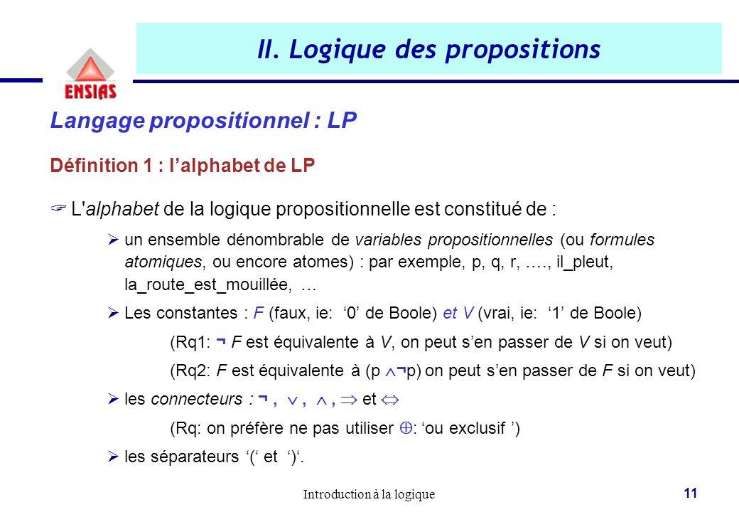 Introduction à la logique 11 II. Logique des propositions Langage propositionnel : LP Définition 1 : l'alphabet de LP  L'alphabet de la logique propo