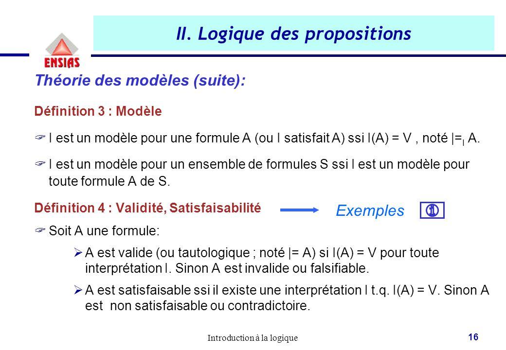 Introduction à la logique 16 II. Logique des propositions Théorie des modèles (suite): Définition 3 : Modèle  I est un modèle pour une formule A (ou