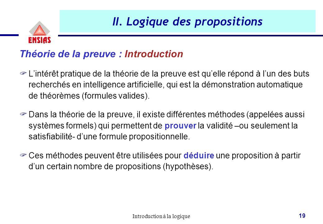 Introduction à la logique 19 II. Logique des propositions Théorie de la preuve : Introduction  L'intérêt pratique de la théorie de la preuve est qu'e