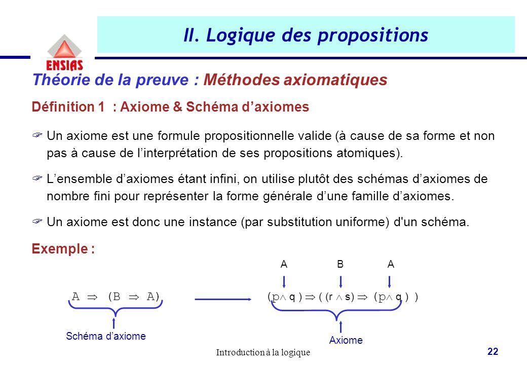 Introduction à la logique 22 Théorie de la preuve : Méthodes axiomatiques Définition 1 : Axiome & Schéma d'axiomes  Un axiome est une formule proposi