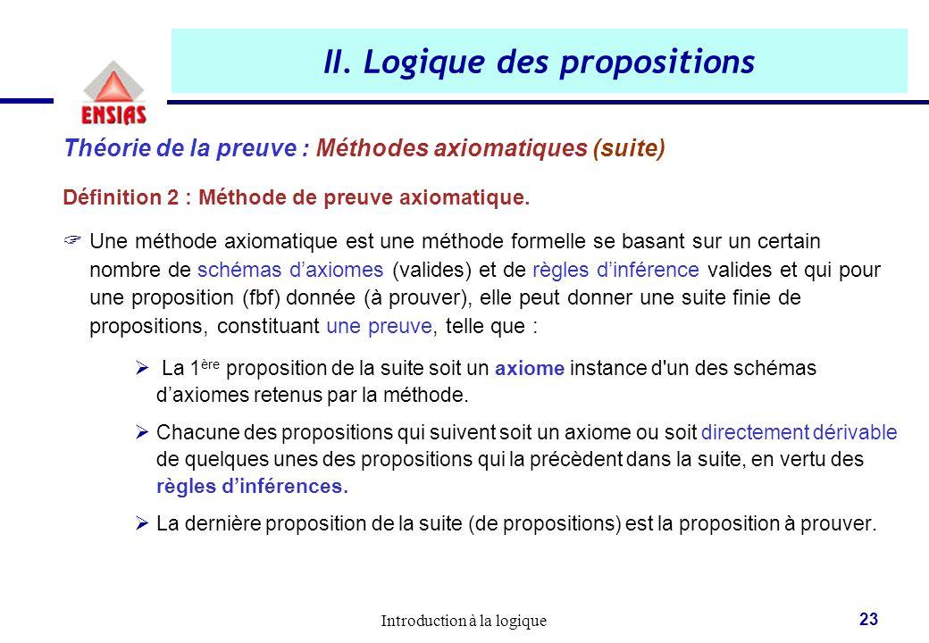 Introduction à la logique 23 II. Logique des propositions Théorie de la preuve : Méthodes axiomatiques (suite) Définition 2 : Méthode de preuve axioma