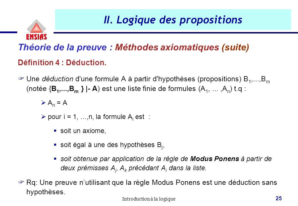 Introduction à la logique 25 II. Logique des propositions Théorie de la preuve : Méthodes axiomatiques (suite) Définition 4 : Déduction.  Une déducti