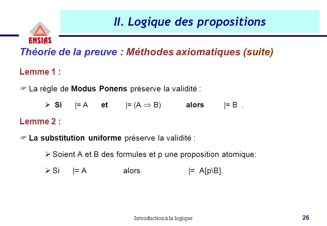 Introduction à la logique 26 II. Logique des propositions Théorie de la preuve : Méthodes axiomatiques (suite) Lemme 1 :  La règle de Modus Ponens pr