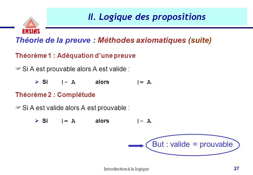 Introduction à la logique 27 II. Logique des propositions Théorie de la preuve : Méthodes axiomatiques (suite) Théorème 1 : Adéquation d'une preuve 