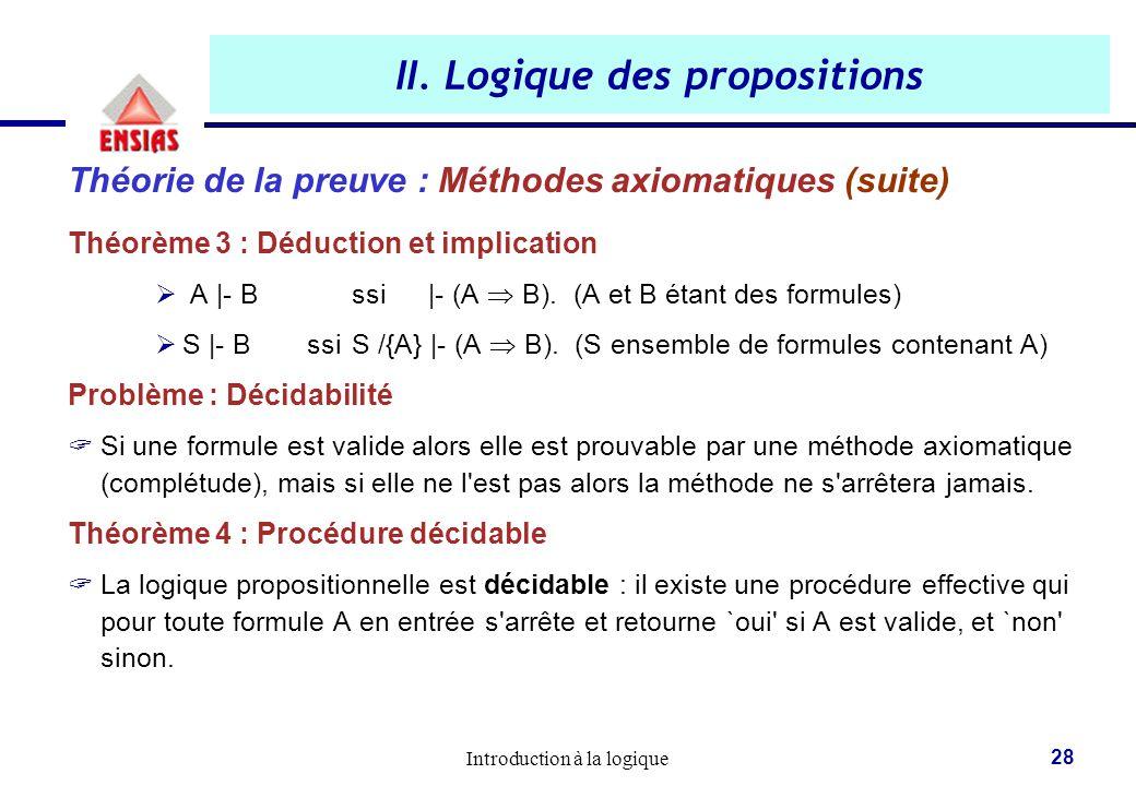 Introduction à la logique 28 II. Logique des propositions Théorie de la preuve : Méthodes axiomatiques (suite) Théorème 3 : Déduction et implication 