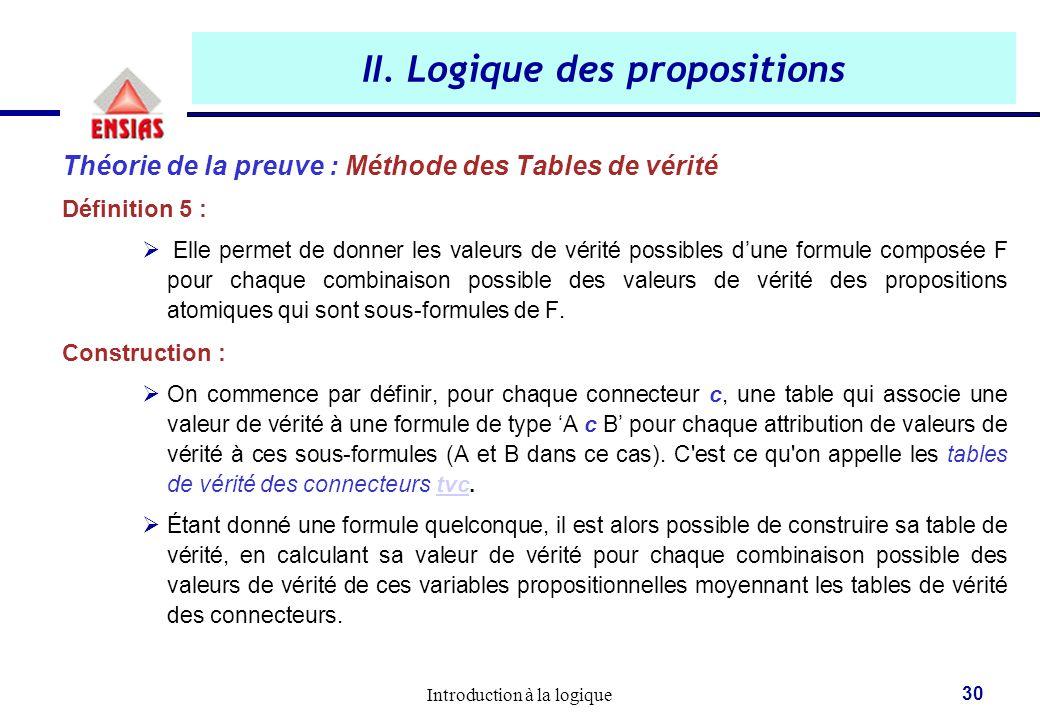 Introduction à la logique 30 II. Logique des propositions Théorie de la preuve : Méthode des Tables de vérité Définition 5 :  Elle permet de donner l