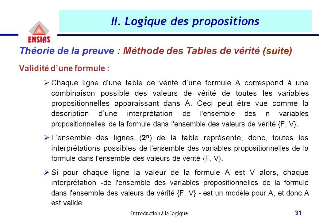 Introduction à la logique 31 II. Logique des propositions Théorie de la preuve : Méthode des Tables de vérité (suite) Validité d'une formule :  Chaqu