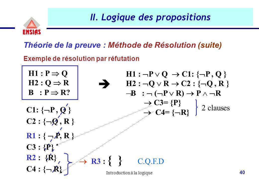 Introduction à la logique 40 II. Logique des propositions Théorie de la preuve : Méthode de Résolution (suite) Exemple de résolution par réfutation H1