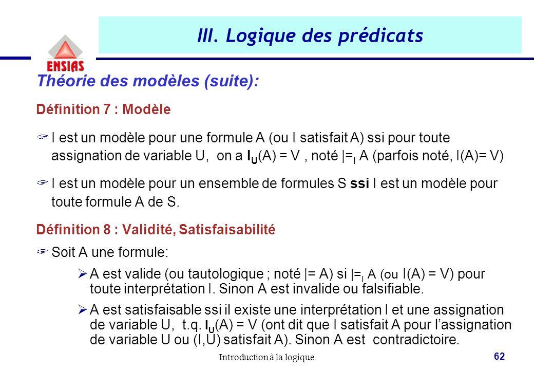 Introduction à la logique 62 III. Logique des prédicats Théorie des modèles (suite): Définition 7 : Modèle  I est un modèle pour une formule A (ou I