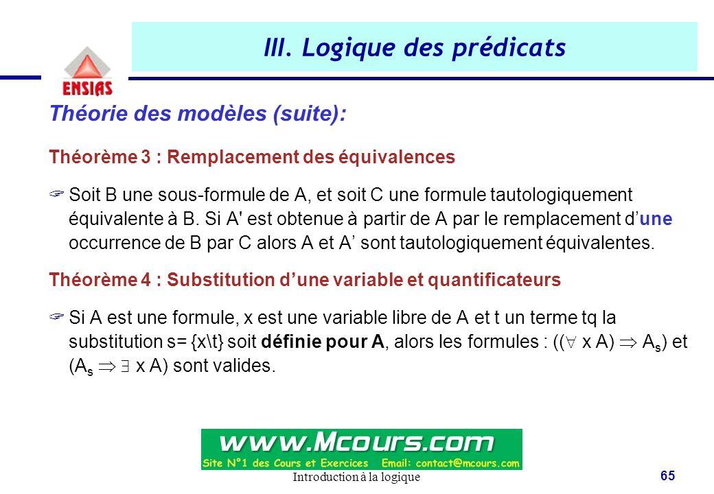 Introduction à la logique 65 III. Logique des prédicats Théorie des modèles (suite): Théorème 3 : Remplacement des équivalences  Soit B une sous-form