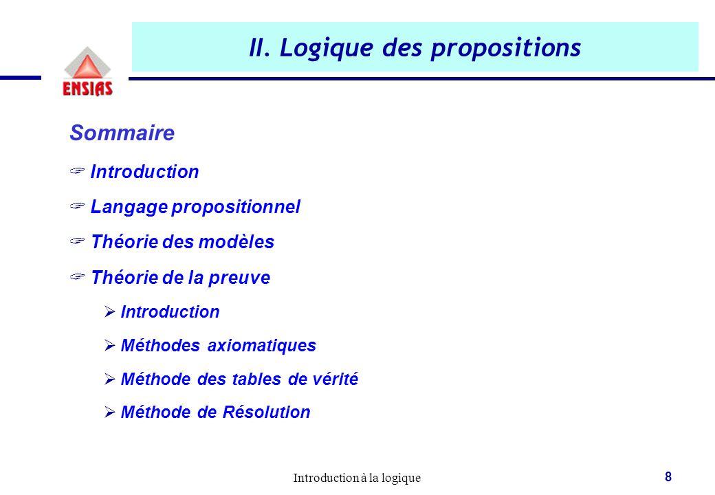 Introduction à la logique 8 II. Logique des propositions Sommaire  Introduction  Langage propositionnel  Théorie des modèles  Théorie de la preuve