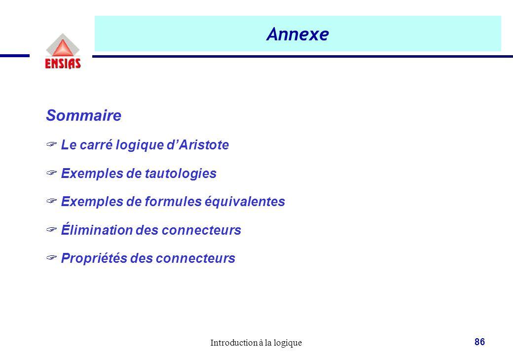 Introduction à la logique 86 Annexe Sommaire  Le carré logique d'Aristote  Exemples de tautologies  Exemples de formules équivalentes  Élimination