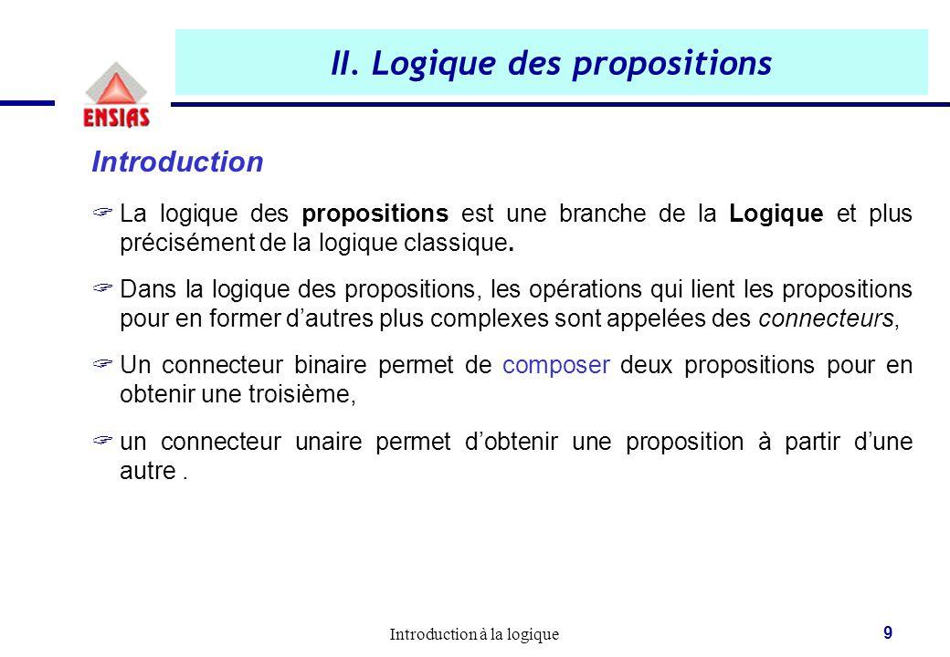 Introduction à la logique 9 II. Logique des propositions Introduction  La logique des propositions est une branche de la Logique et plus précisément