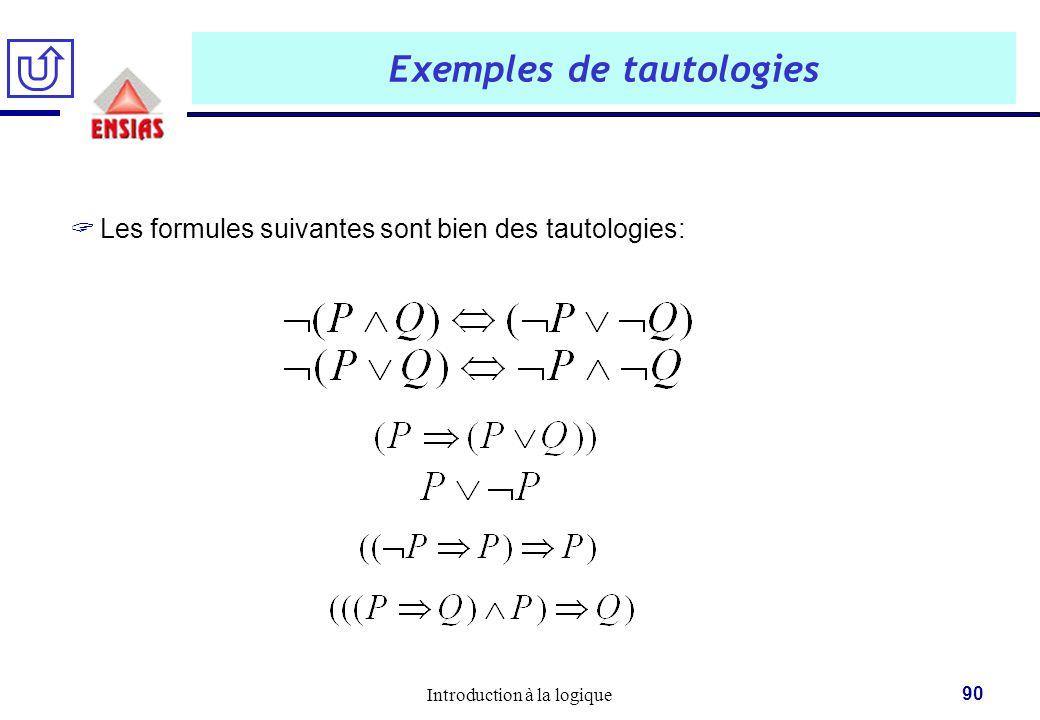 Introduction à la logique 90 Exemples de tautologies  Les formules suivantes sont bien des tautologies: