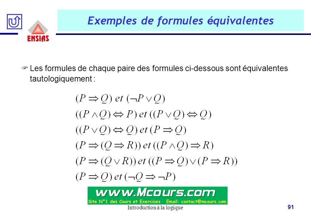 Introduction à la logique 91 Exemples de formules é quivalentes  Les formules de chaque paire des formules ci-dessous sont équivalentes tautologiquem