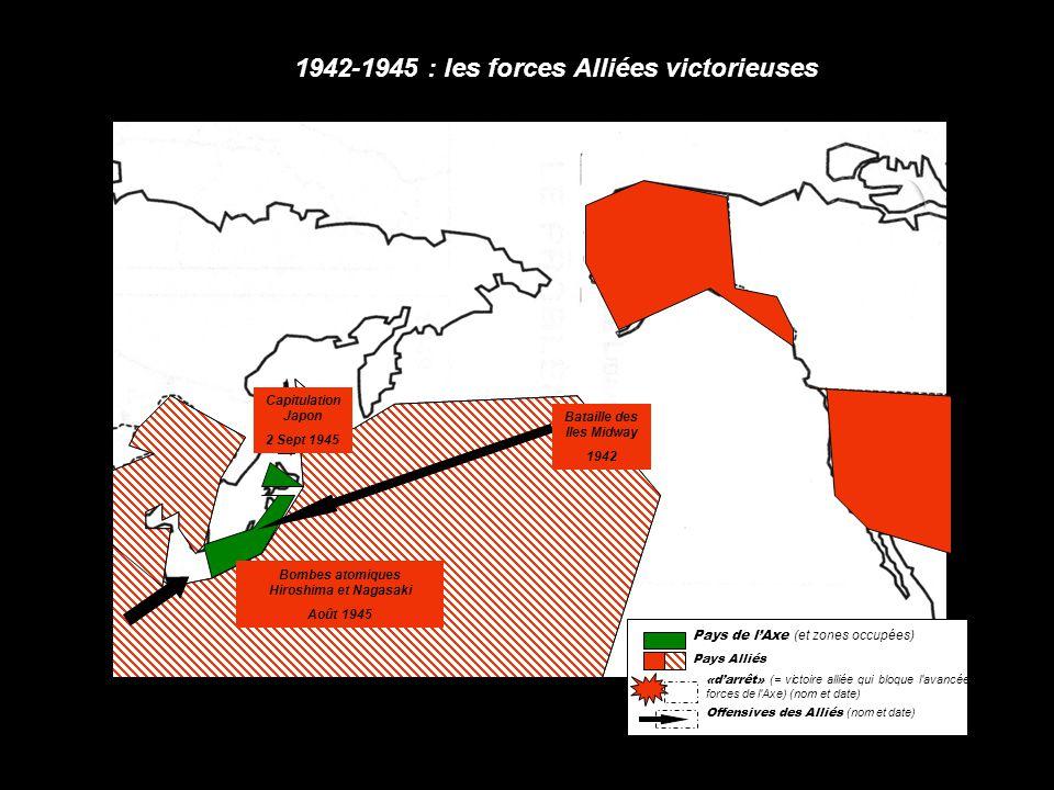 1942-1945 : les forces Alliées victorieuses Bataille des Iles Midway 1942 Capitulation Japon 2 Sept 1945 Bombes atomiques Hiroshima et Nagasaki Août 1