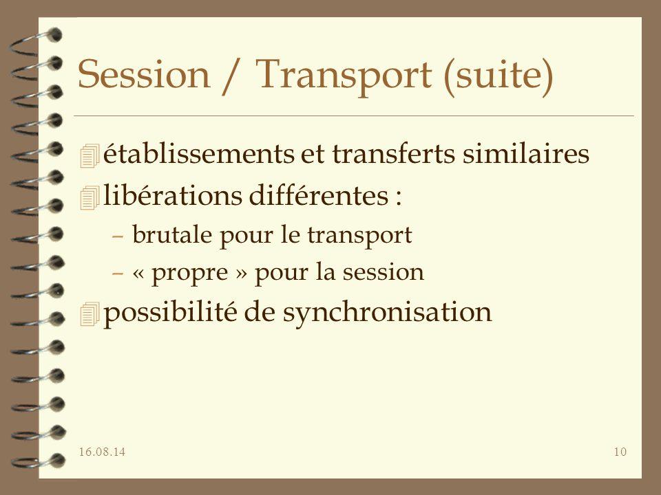 16.08.1410 Session / Transport (suite) 4 établissements et transferts similaires 4 libérations différentes : –brutale pour le transport –« propre » po