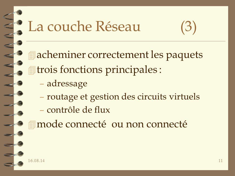 16.08.1411 La couche Réseau (3) 4 acheminer correctement les paquets 4 trois fonctions principales : –adressage –routage et gestion des circuits virtu