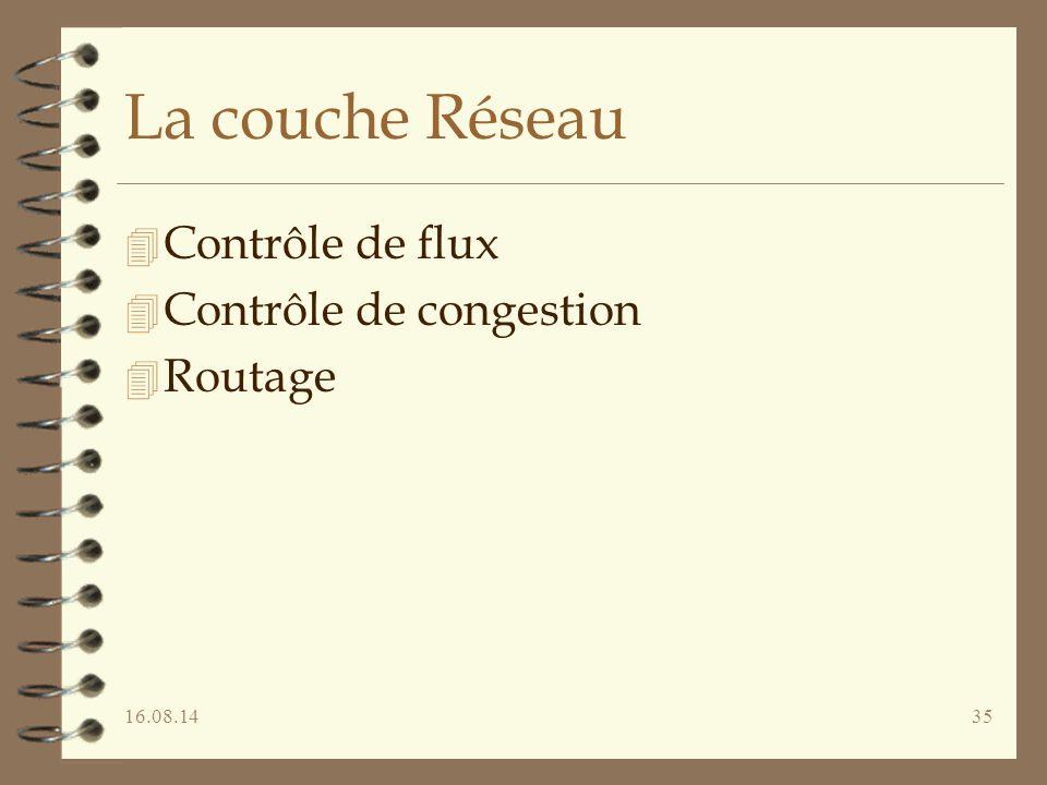 16.08.1435 La couche Réseau 4 Contrôle de flux 4 Contrôle de congestion 4 Routage