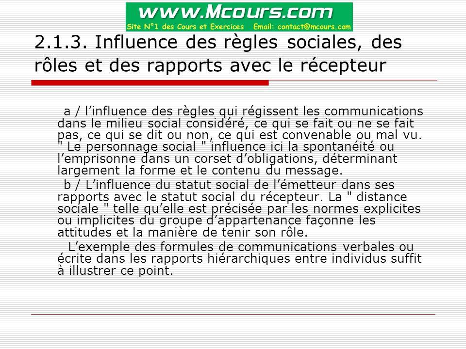 2.1.3. Influence des règles sociales, des rôles et des rapports avec le récepteur a / l'influence des règles qui régissent les communications dans le