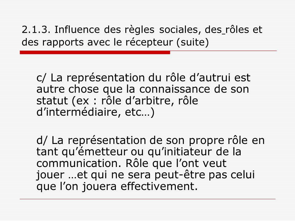 2.1.3. Influence des règles sociales, des rôles et des rapports avec le récepteur (suite) c/ La représentation du rôle d'autrui est autre chose que la