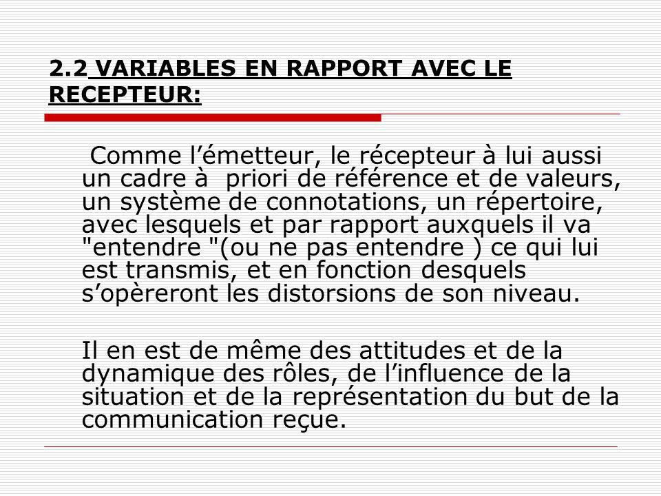 2.2 VARIABLES EN RAPPORT AVEC LE RECEPTEUR: Comme l'émetteur, le récepteur à lui aussi un cadre à priori de référence et de valeurs, un système de con