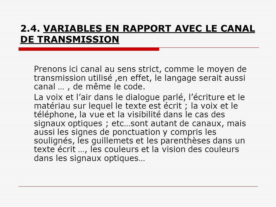 2.4. VARIABLES EN RAPPORT AVEC LE CANAL DE TRANSMISSION Prenons ici canal au sens strict, comme le moyen de transmission utilisé,en effet, le langage