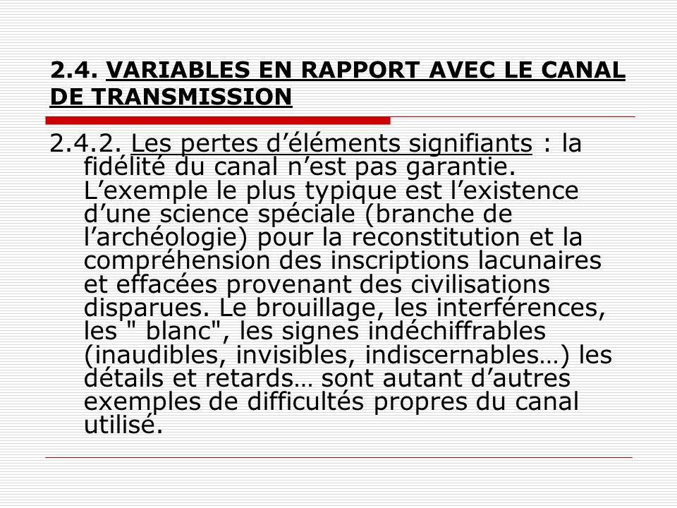 2.4. VARIABLES EN RAPPORT AVEC LE CANAL DE TRANSMISSION 2.4.2. Les pertes d'éléments signifiants : la fidélité du canal n'est pas garantie. L'exemple
