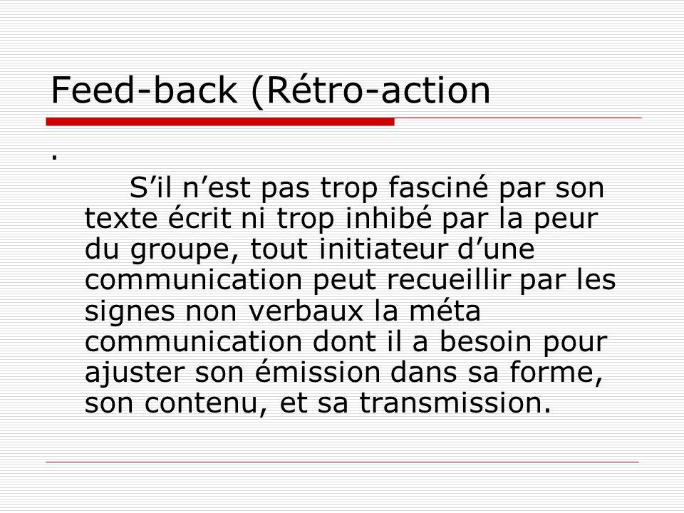 Feed-back (Rétro-action. S'il n'est pas trop fasciné par son texte écrit ni trop inhibé par la peur du groupe, tout initiateur d'une communication peu