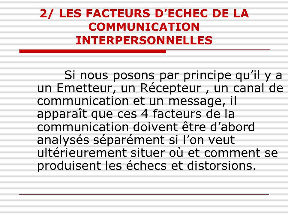 2/ LES FACTEURS D'ECHEC DE LA COMMUNICATION INTERPERSONNELLES Si nous posons par principe qu'il y a un Emetteur, un Récepteur, un canal de communicati