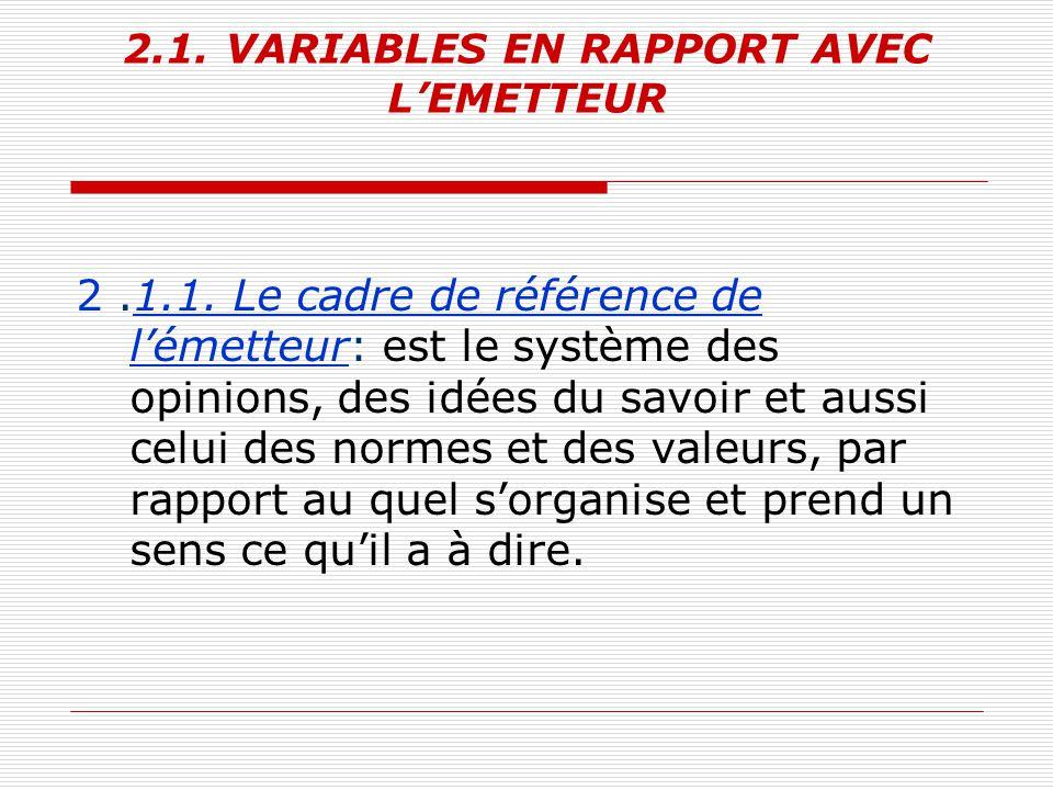 2.1. VARIABLES EN RAPPORT AVEC L'EMETTEUR 2.1.1. Le cadre de référence de l'émetteur: est le système des opinions, des idées du savoir et aussi celui