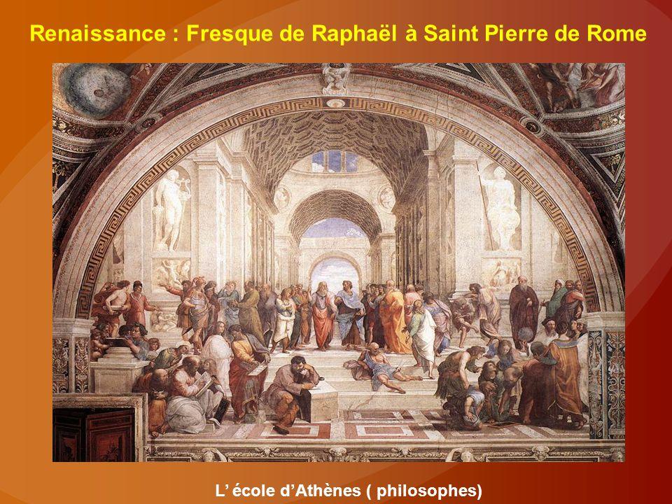 Renaissance : Fresque de Raphaël à Saint Pierre de Rome L' école d'Athènes ( philosophes)