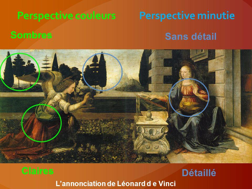 Perspective couleurs Perspective minutie Claires Sombres Sans détail Détaillé L'annonciation de Léonard d e Vinci