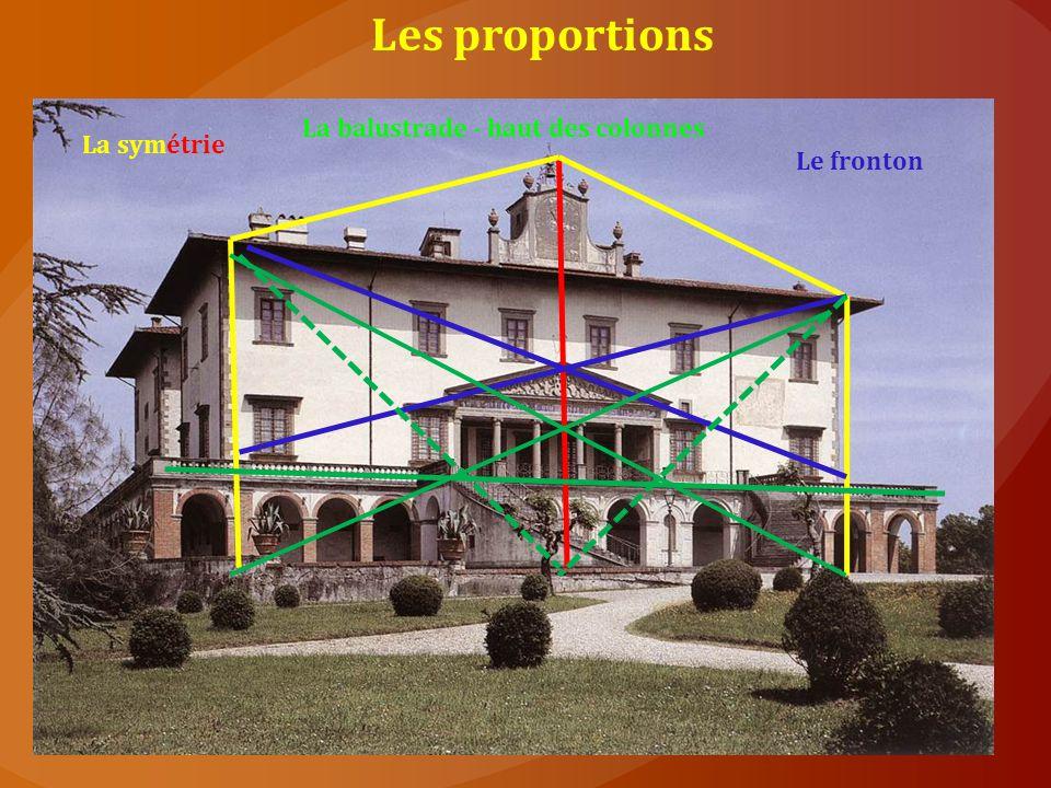 Les proportions La symétrie Le fronton La balustrade - haut des colonnes