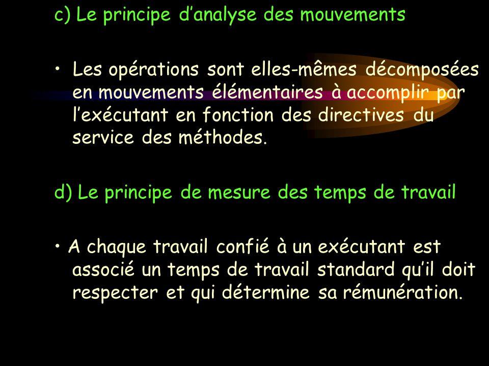c) Le principe d'analyse des mouvements Les opérations sont elles-mêmes décomposées en mouvements élémentaires à accomplir par l'exécutant en fonction