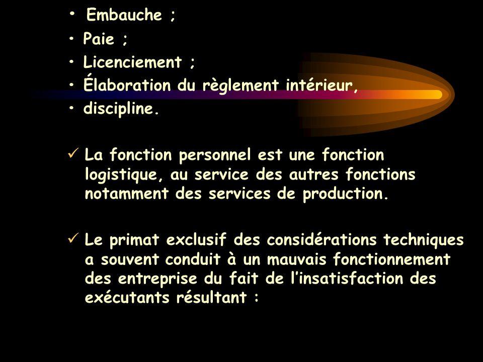 Embauche ; Paie ; Licenciement ; Élaboration du règlement intérieur, discipline. La fonction personnel est une fonction logistique, au service des aut