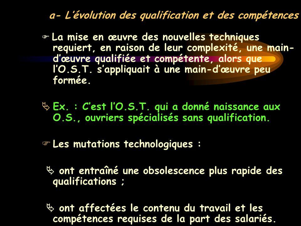 a- L'évolution des qualification et des compétences  La mise en œuvre des nouvelles techniques requiert, en raison de leur complexité, une main- d'œu