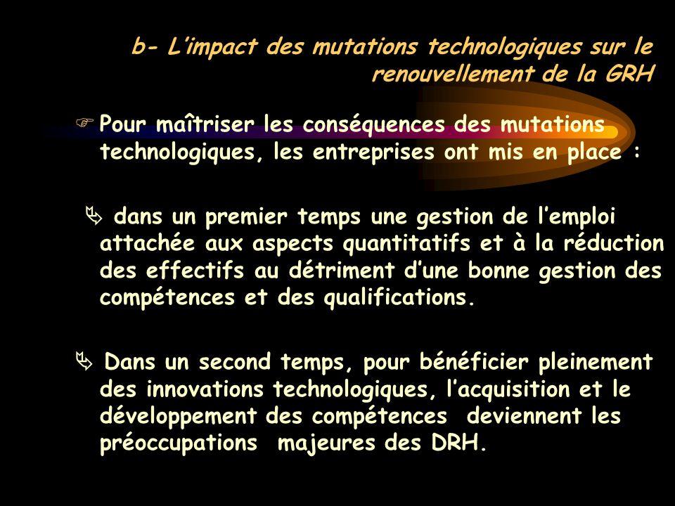 b- L'impact des mutations technologiques sur le renouvellement de la GRH  Pour maîtriser les conséquences des mutations technologiques, les entrepris