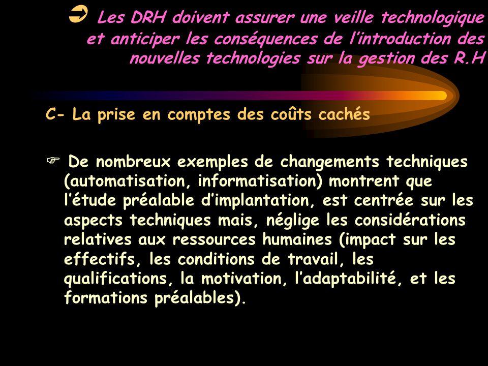 Les DRH doivent assurer une veille technologique et anticiper les conséquences de l'introduction des nouvelles technologies sur la gestion des R.H C