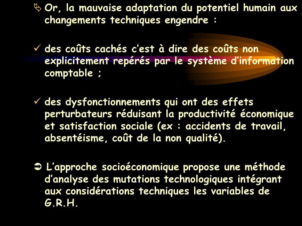  Or, la mauvaise adaptation du potentiel humain aux changements techniques engendre : des coûts cachés c'est à dire des coûts non explicitement repér