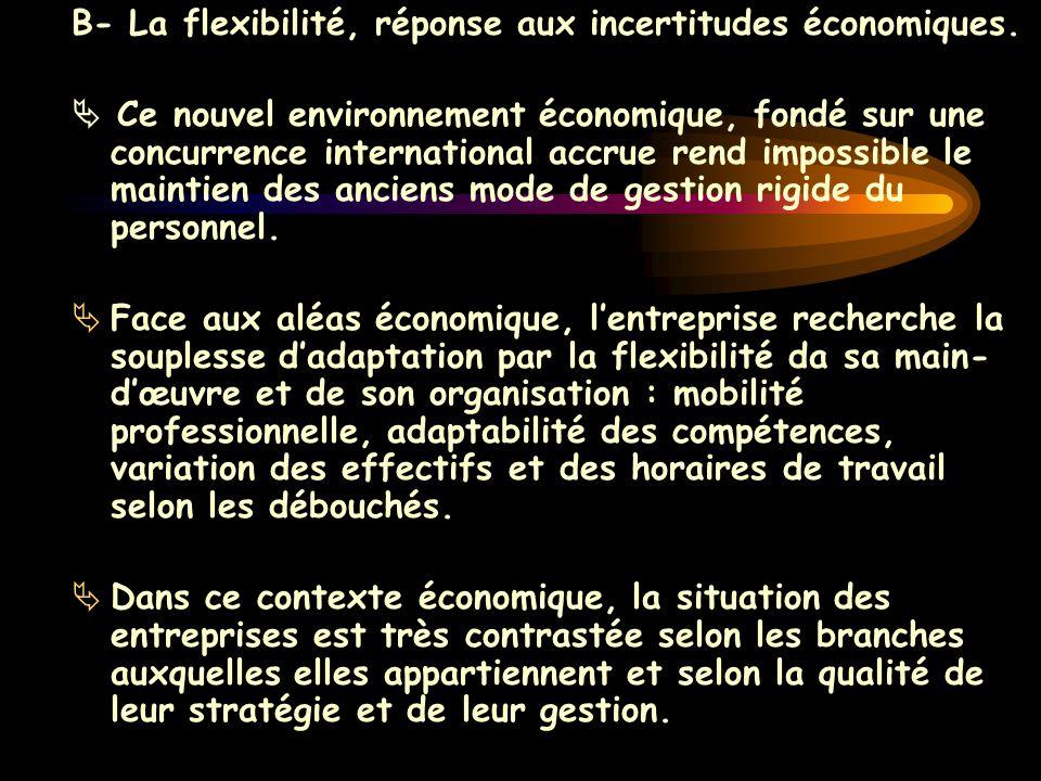 B- La flexibilité, réponse aux incertitudes économiques.  Ce nouvel environnement économique, fondé sur une concurrence international accrue rend imp
