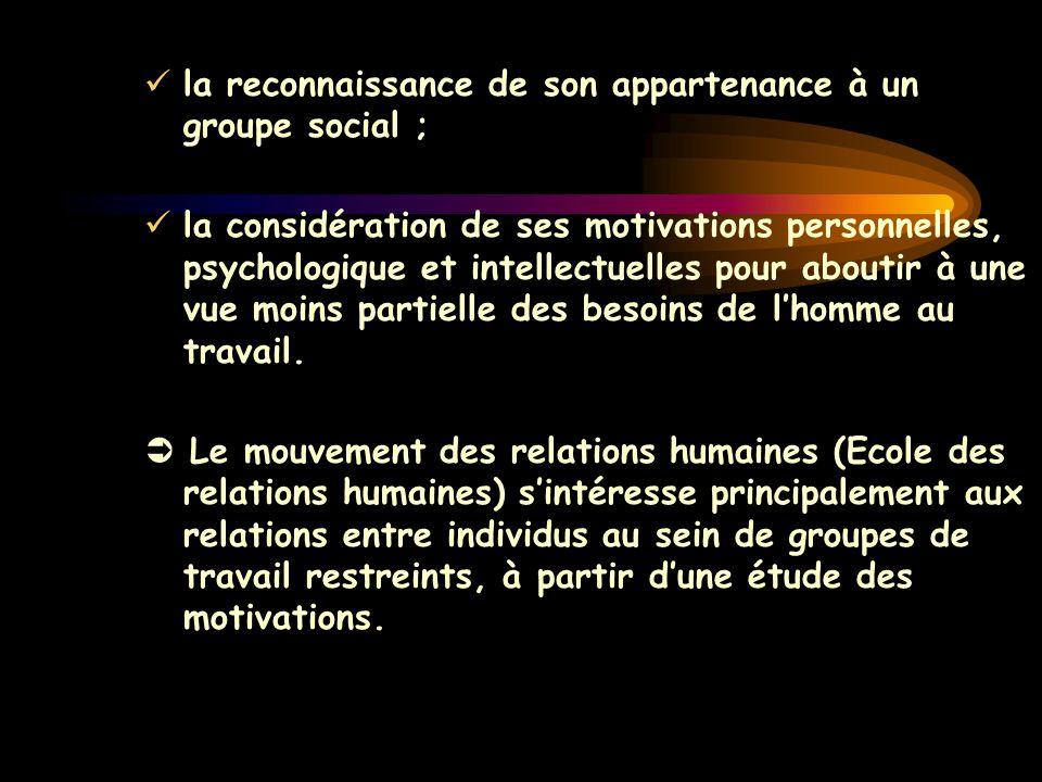 la reconnaissance de son appartenance à un groupe social ; la considération de ses motivations personnelles, psychologique et intellectuelles pour abo