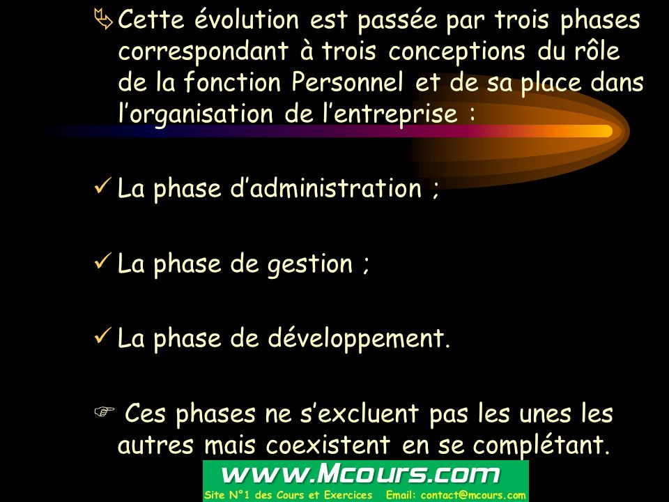  Cette évolution est passée par trois phases correspondant à trois conceptions du rôle de la fonction Personnel et de sa place dans l'organisation de
