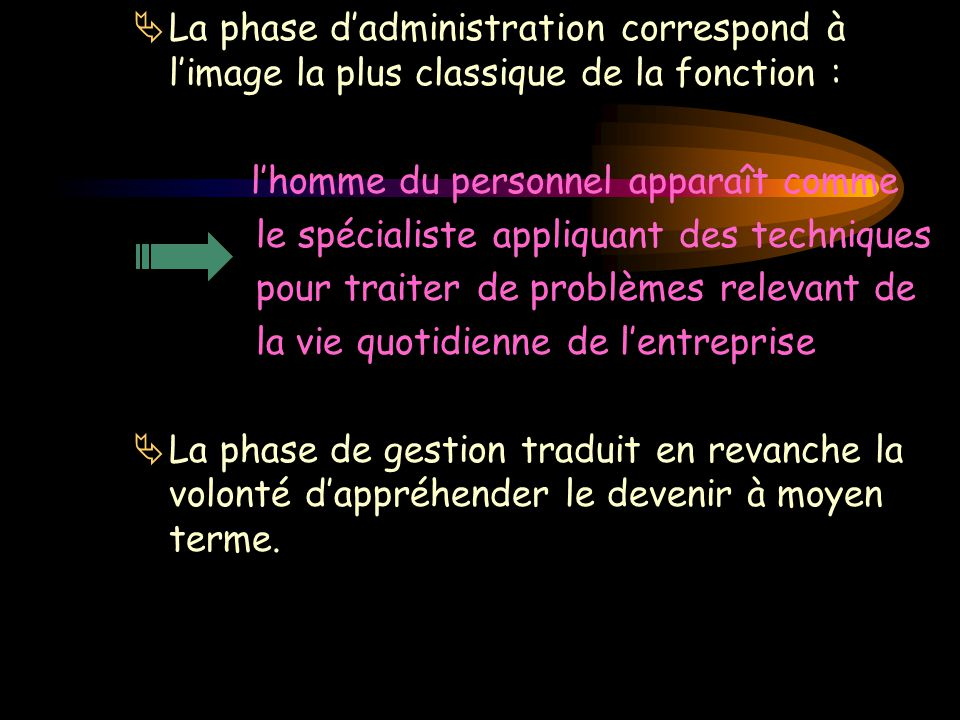  La phase d'administration correspond à l'image la plus classique de la fonction : l'homme du personnel apparaît comme le spécialiste appliquant des