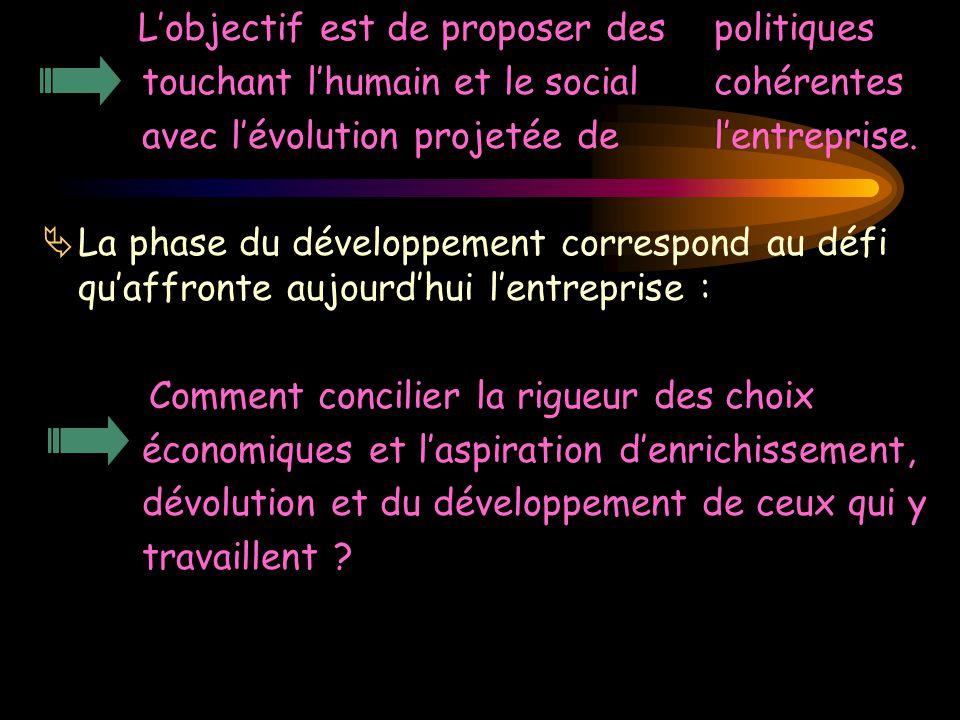L'objectif est de proposer des politiques touchant l'humain et le social cohérentes avec l'évolution projetée de l'entreprise.  La phase du développe